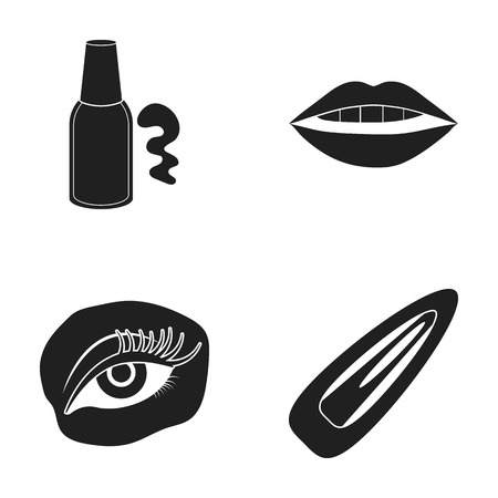 Nail polish, tinted eyelashes, lips with lipstick, hair clip.Makeup set collection icons in black style vector symbol stock illustration . Illusztráció