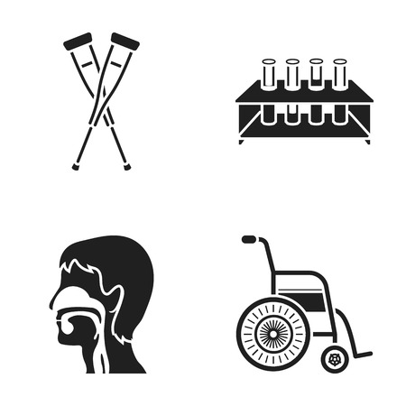 Crutch, tripod with test tubes, wheelchair, human respiratory system. Medicine set collection icons in black style vector symbol stock illustration .