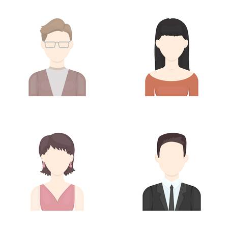 earrings: A man with glasses, a girl with a bang, a girl with earrings, a businessman.Avatar set collection icons in cartoon style vector symbol stock illustration . Illustration