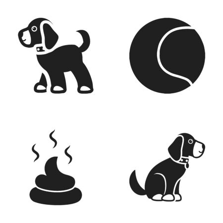feces: Dog sitting, dog standing, tennis ball, feces. Dog set collection icons in black style vector symbol stock illustration web.