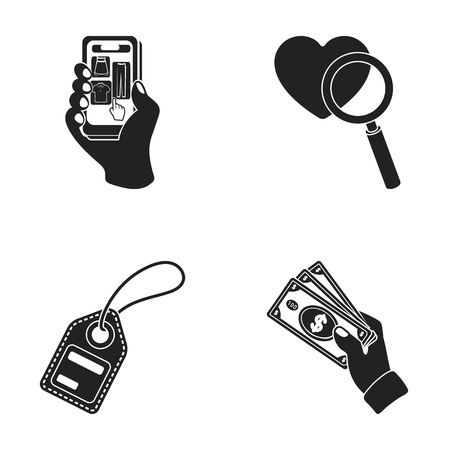 Hand, mobile phone, online store and other equipment. E commerce set collection icons in black style vector symbol stock illustration web. Illustration