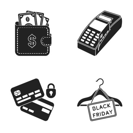 Purse, money, touch, hanger and other equipment. E commerce set collection icons in black style vector symbol stock illustration web.