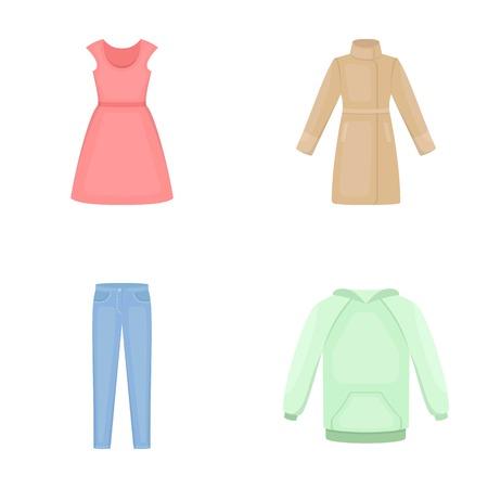 短い袖、ズボン、コート、ラグランでドレスアップします。衣類は、漫画スタイルのベクトル シンボル ストック イラストでコレクションのアイコ