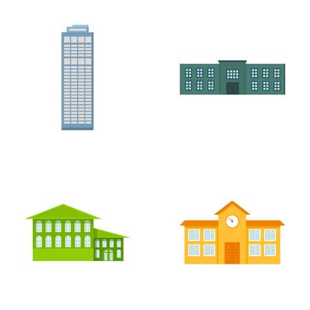 Skyscraper, police, hotel, school.Building set collection icons in cartoon style vector symbol stock illustration .