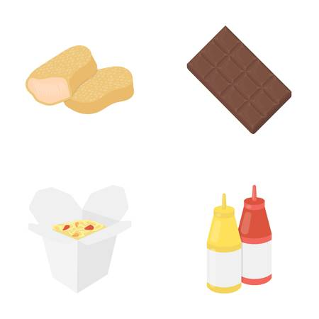 Chocolate, noodles, nuggets, sauce.Fast food set collection icons in cartoon style vector symbol stock illustration .