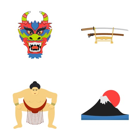 Dragon mask, katano, a man is a sumo player, a fujiama mountain.Japan set collection icons in cartoon style vector symbol stock illustration web.