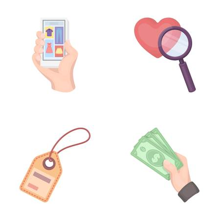 Hand, mobile phone, online store and other equipment. E commerce set collection icons in cartoon style vector symbol stock illustration web. Illustration