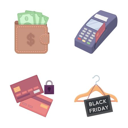 e commerce icon: Purse, money, touch, hanger and other equipment. E commerce set collection icons in cartoon style vector symbol stock illustration web.
