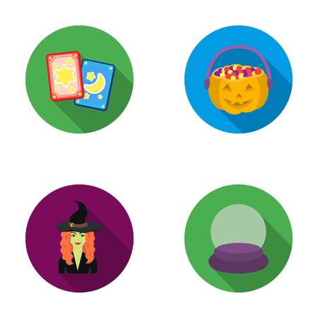 Tarot cards, holiday halloween, magician in a hat, crystal ball. Black and white magic set collection icons in flat style vector symbol stock illustration web. Illustration