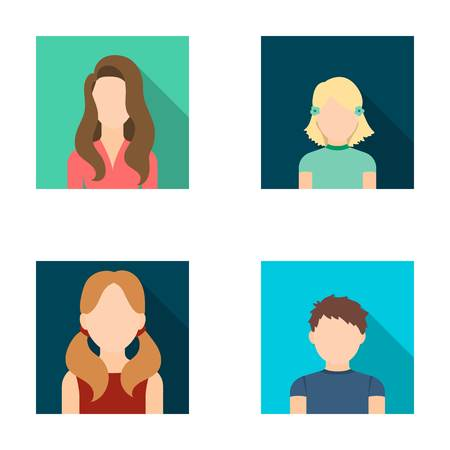 ponytails: Little girl with hairpins, dark woman, girl with ponytails, boy teenager.Avatar set collection icons in flat style vector symbol stock illustration web. Illustration