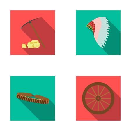 Hockelen en stenen, meer bandolier, cartwheel, mohawk. Wilde westen vastgestelde inzamelingspictogrammen in het vlakke Web van de de voorraadillustratie van het stijl vectorsymbool.