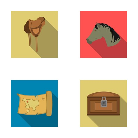 Head of a horse, a saddle, a treasure map, a chest.Wild west set collection icons in flat style vector symbol stock illustration web. Illustration