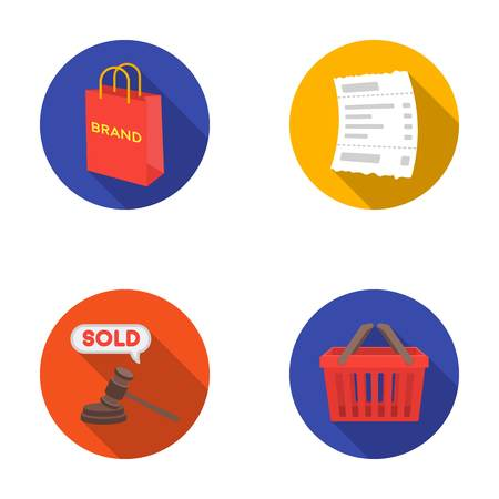 e auction: Bag and paper, check, calculation and other equipment. E commerce set collection icons in flat style vector symbol stock illustration web. Illustration