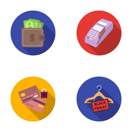 Purse, money, touch, hanger and other equipment. E commerce set collection icons in flat style vector symbol stock illustration web.