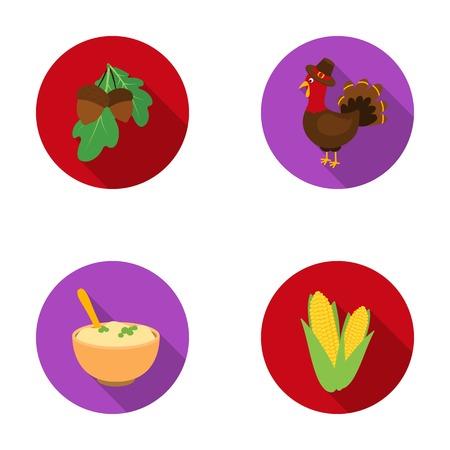 Acorns, corn.arthene puree, festive turkey,Canada thanksgiving day set collection icons in flat style vector symbol stock illustration web. Illustration