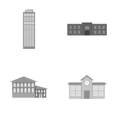 Skyscraper, police, hotel, school.Building set collection icons in monochrome style vector symbol stock illustration web.