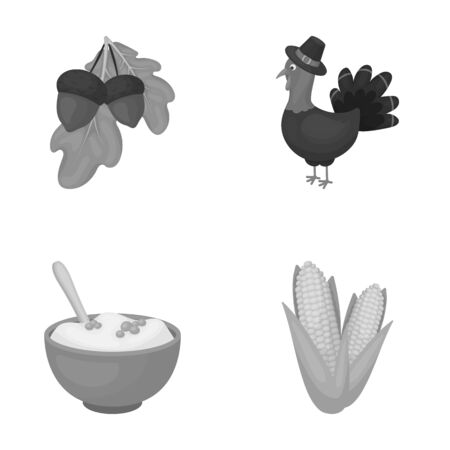 Acorns, corn.arthene puree, festive turkey,Canada thanksgiving day set collection icons in monochrome style vector symbol stock illustration web. Illustration