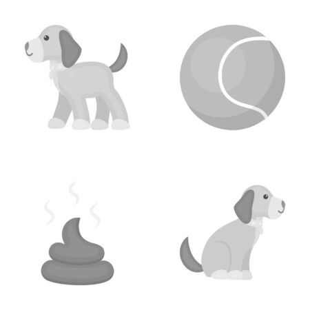 feces: Dog sitting, dog standing, tennis ball, feces. Dog set collection icons in monochrome style vector symbol stock illustration web. Illustration