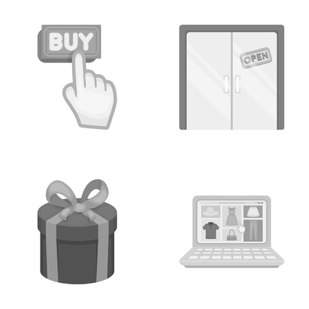 e commerce icon: Hand, click, elevator, gift, box, door, online store and other equipment. E commerce set collection icons in monochrome style vector symbol stock illustration web.