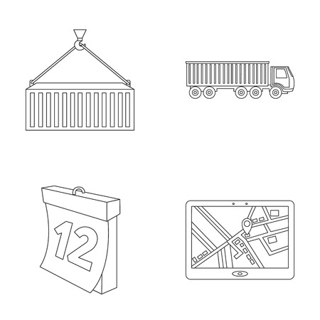 meta: Metal container, calendar, truck, GPS navigator.Logistic set collection icons in outline style vector symbol stock illustration .