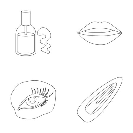 Nail polish, tinted eyelashes, lips with lipstick, hair clip.Makeup set collection icons in outline style vector symbol stock illustration .