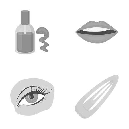 Nail polish, tinted eyelashes, lips with lipstick, hair clip.Makeup set collection icons in monochrome style vector symbol stock illustration web.