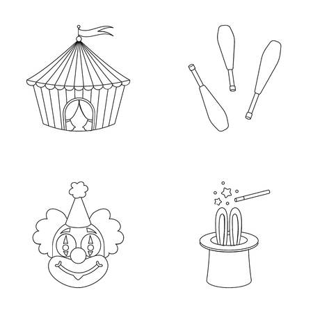 Circus tent, juggler maces, clown, magicians hat.Circus set collection icons in outline style vector symbol stock illustration web.