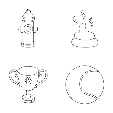 feces: Tennis ball, game, hydrant fire, cup, feces.Dog set collection icons in outline style vector symbol stock illustration web. Illustration