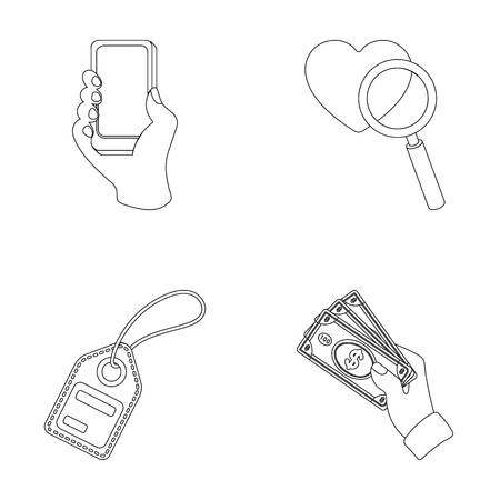 Hand, mobile phone, online store and other equipment. E commerce set collection icons in outline style vector symbol stock illustration web.