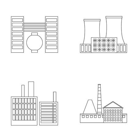 Industry, production.Factory set collection icons in outline style vector symbol stock illustration web.