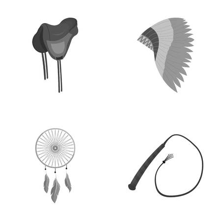 Saddle, Indian mohawk, whip, dream catcher.Wild west set collection icons in monochrome style vector symbol stock illustration web.