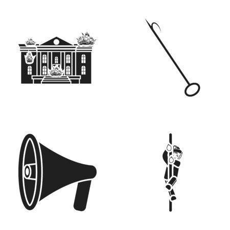 Burning house, hook, megaphone, fire. Fire department set collection icons in black style vector symbol stock illustration .