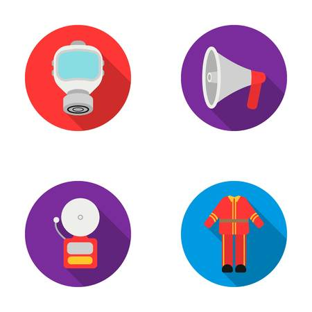 Gas mask, megaphone, siren, uniform. Fire department set collection icons in flat style vector symbol stock illustration . Illustration