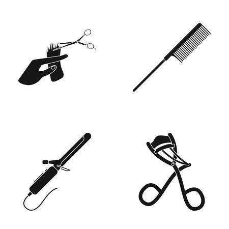 Hand haircut, hairbrush, hair curler. Hairdresser set collection icons in black style vector symbol stock illustration . Stock Vector - 78318674