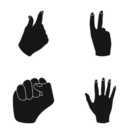 Open fist, victory, miser. Hand gesture set collection icons in black style vector symbol stock illustration web.