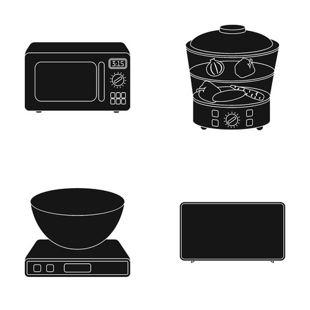 double boiler: Steamer, microwave oven, scales, lcd tv.Household set collection icons in black style vector symbol stock illustration web.