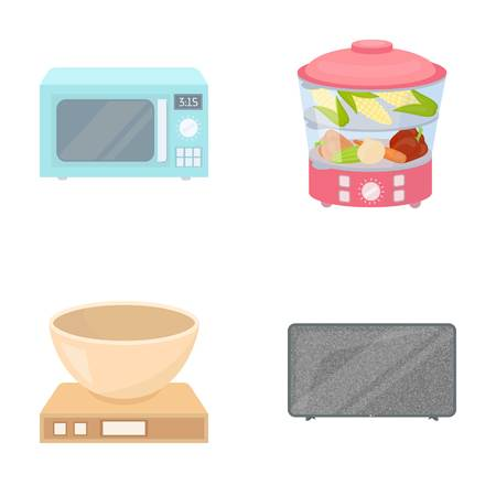 double boiler: Steamer, microwave oven, scales, lcd tv.Household set collection icons in cartoon style vector symbol stock illustration web. Illustration