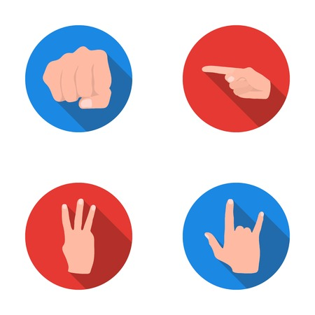Closed fist, index, and other gestures. Hand gestures set collection icons in flat style vector symbol stock illustration web.