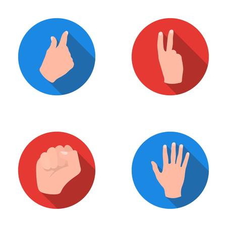 Open fist, victory, miser. Hand gesture set collection icons in flat style vector symbol stock illustration web.