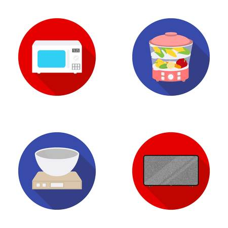 double boiler: Steamer, microwave oven, scales, lcd tv.Household set collection icons in flat style vector symbol stock illustration web.