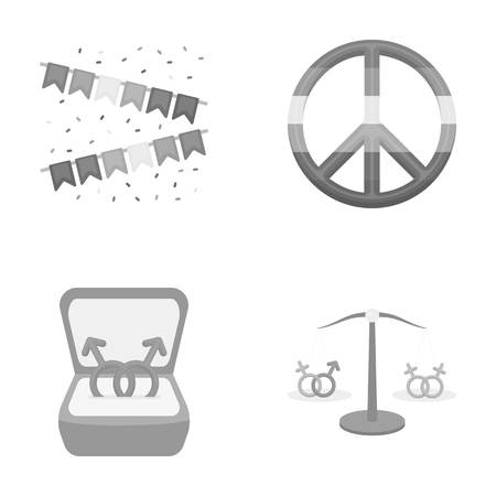civil rights: Flags, rainbow, emblem, rings. Gay set collection icons in monochrome style vector symbol stock illustration web.