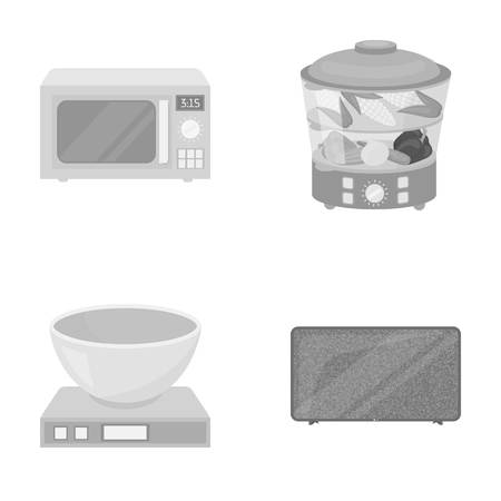 double boiler: Steamer, microwave oven, scales, lcd tv.Household set collection icons in monochrome style vector symbol stock illustration web.