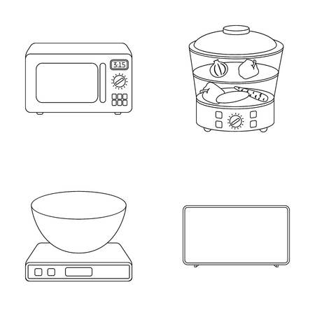 double boiler: Steamer, microwave oven, scales, lcd tv.Household set collection icons in outline style vector symbol stock illustration web.