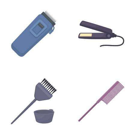 Trim, hair coloring, comb, straightener. Hairdresser set collection icons in cartoon style vector symbol stock illustration web.