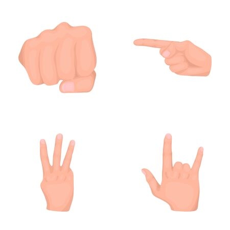 Closed fist, index, and other gestures. Hand gestures set collection icons in cartoon style vector symbol stock illustration web.