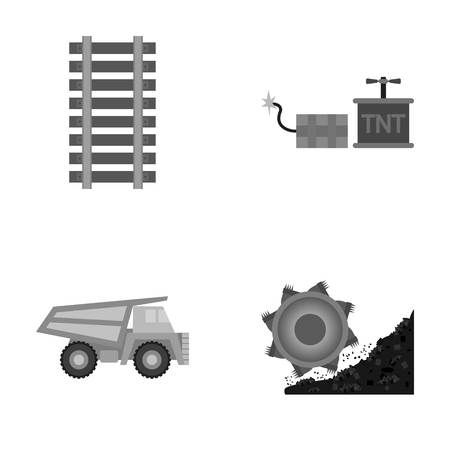 Ryllsy,vzryvchatka, dumper,?oal harvester .Mine set collection icons in monochrome style vector symbol stock illustration web.