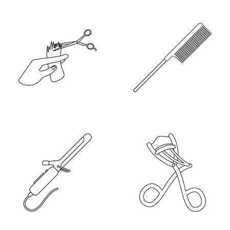 Hand haircut, hairbrush, hair curler. Hairdresser set collection icons in outline style vector symbol stock illustration web.
