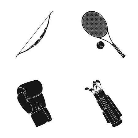 Bow for shooting at the target, racket with a ball for playing in a tennis court, a glove for boxing, a cover, a drawer for golf clubs. Sport set collection icons in black style vector symbol stock illustration web.