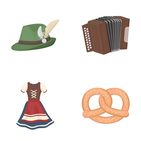 Tyrolean hat, accordion, dress, pretzel. Oktoberfestset collection icons in cartoon style vector symbol stock illustration .