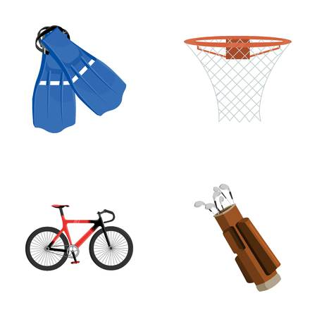 Flippers for swimming, basketball basket, net, racing holograph, golf bag. Sport set collection icons in cartoon style vector symbol stock illustration .